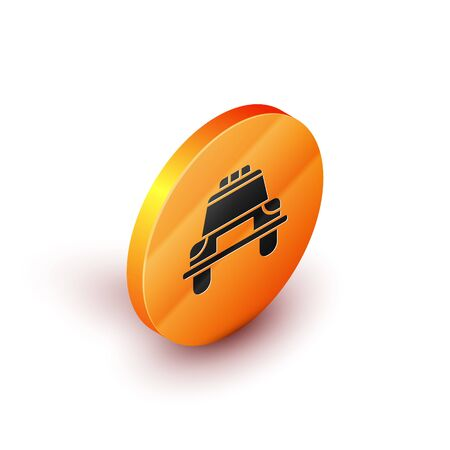 Isometric Police car and police flasher icon isolated on white background. Emergency flashing siren. Orange circle button. Vector Illustration