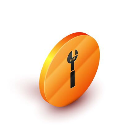 Isometric Adjustable wrench icon isolated on white background. Orange circle button. Vector Illustration Illustration