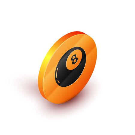 Isometric Magic ball of predictions for decision-making icon isolated on white background. Crystal ball. Orange circle button. Vector Illustration