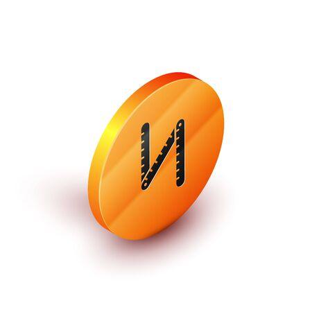 Isometric Folding ruler icon isolated on white background. Orange circle button. Vector Illustration