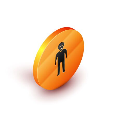 Isometric Alien icon isolated on white background. Extraterrestrial alien face or head symbol. Orange circle button. Vector Illustration