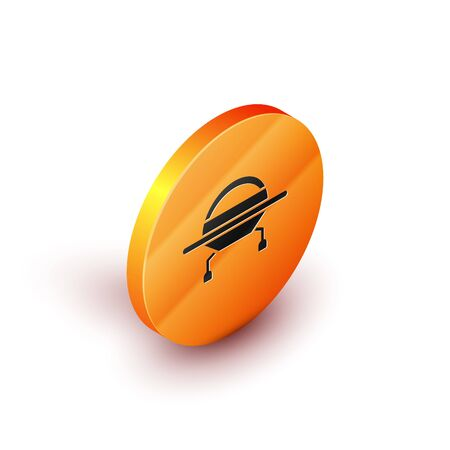 Isometric UFO flying spaceship icon isolated on white background. Flying saucer. Alien space ship. Futuristic unknown flying object. Orange circle button. Vector Illustration  イラスト・ベクター素材