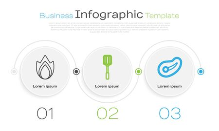 Set line Fire flame, Spatula and Steak meat. Business infographic template. Vector