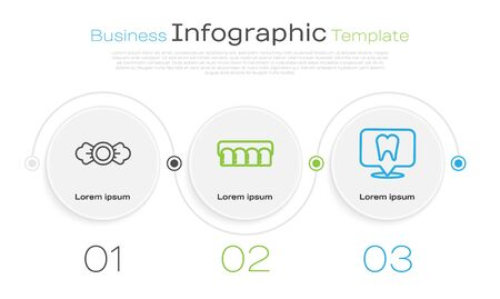 Set line Candy, Dentures model and Dental clinic location. Business infographic template. Vector
