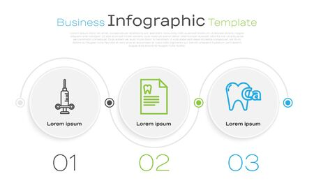 Set line Dental medical syringe, Clipboard with dental card and Calcium for tooth. Business infographic template. Vector