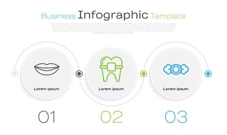 Set line Smiling lips, Teeth with braces and Candy. Business infographic template. Vector