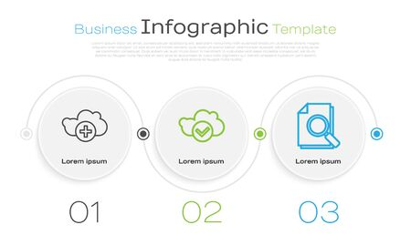 Set line Add cloud, Cloud with check mark and Document with search. Business infographic template. Vector