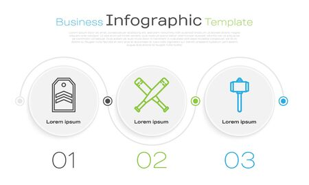 Set line Chevron, Crossed baseball bat and Battle hammer. Business infographic template. Vector Illustration