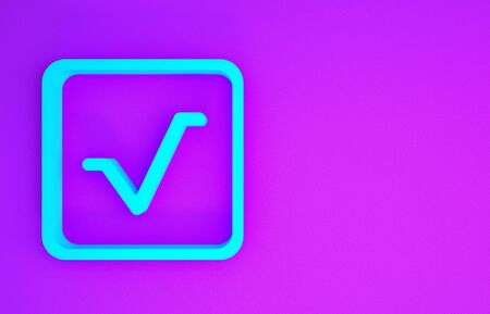 Blue Square root icon isolated on purple background. Minimalism concept. 3d illustration 3D render