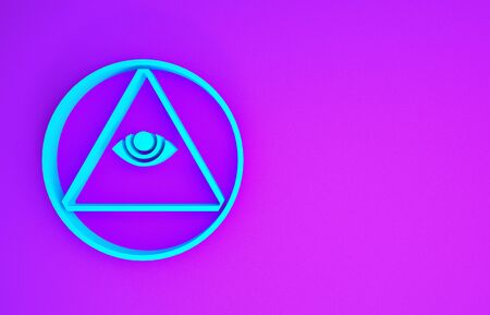 Blue Masons symbol All-seeing eye of God icon isolated on purple background. The eye of Providence in the triangle. Minimalism concept. 3d illustration 3D render 写真素材