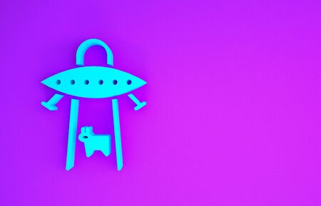Blue UFO abducts cow icon isolated on purple background. Flying saucer. Alien space ship. Futuristic unknown flying object. Minimalism concept. 3d illustration 3D render