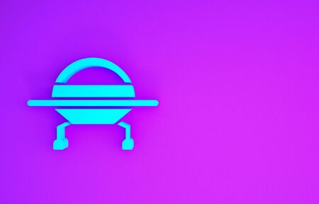 Blue UFO flying spaceship icon isolated on purple background. Flying saucer. Alien space ship. Futuristic unknown flying object. Minimalism concept. 3d illustration 3D render