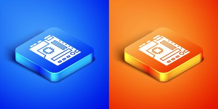 Isometric Electronic computer components motherboard digital chip integrated science icon isolated on blue and orange background. Circuit board. Square button. Vector Illustration