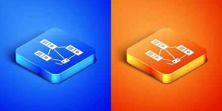 Isometric Computer network icon isolated on blue and orange background. Laptop network. Internet connection. Square button. Vector Illustration Illustration