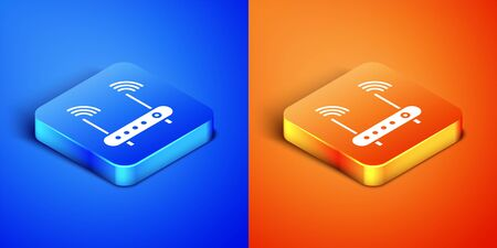 Isometric Router and wi-fi signal symbol icon isolated on blue and orange background. Wireless ethernet modem router. Computer technology internet. Square button. Vector Illustration