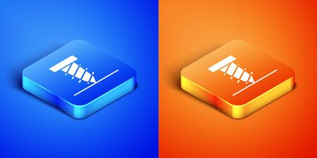 Isometric Rotating drill digging a hole in a ground icon isolated on blue and orange background. Square button. Vector Illustration