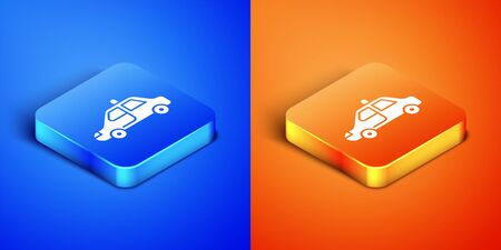 Isometric Police car and police flasher icon isolated on blue and orange background. Emergency flashing siren. Square button. Vector Illustration Illustration