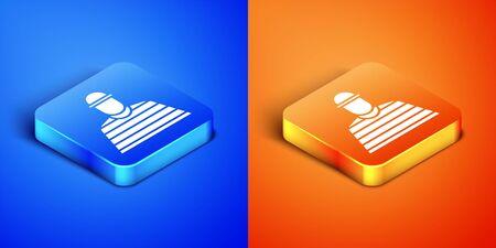 Isometric Prisoner icon isolated on blue and orange background. Square button. Vector Illustration Illustration