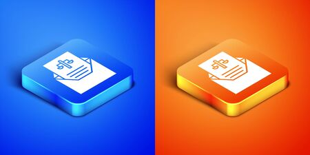 Isometric Subpoena icon isolated on blue and orange background. The arrest warrant, police report, subpoena. Justice concept. Square button. Vector Illustration