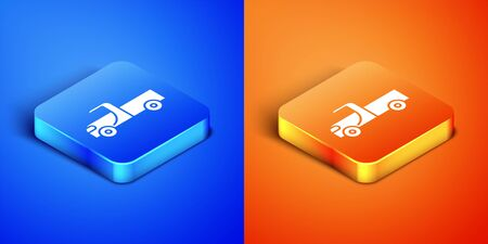 Isometric Pickup truck icon isolated on blue and orange background. Square button. Vector Illustration
