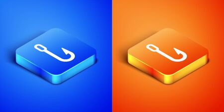 Isometric Fishing hook icon isolated on blue and orange background. Fishing tackle. Square button. Vector Illustration