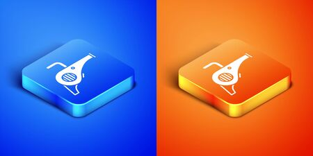 Isometric Leaf garden blower icon isolated on blue and orange background. Square button. Vector Illustration