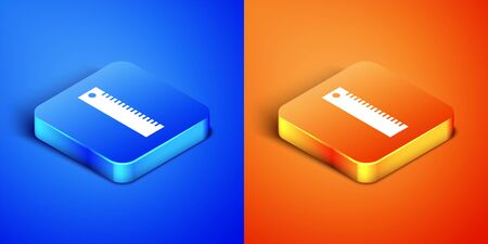 Isometric Ruler icon isolated on blue and orange background. Straightedge symbol. Square button. Vector Illustration