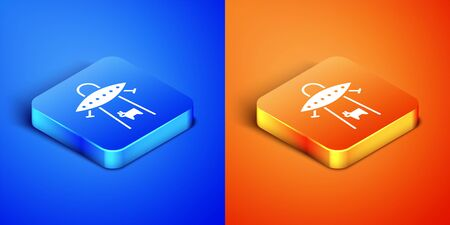 Isometric UFO abducts cow icon isolated on blue and orange background. Flying saucer. Alien space ship. Futuristic unknown flying object. Square button. Vector Illustration