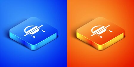 Isometric UFO flying spaceship icon isolated on blue and orange background. Flying saucer. Alien space ship. Futuristic unknown flying object. Square button. Vector Illustration