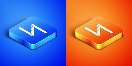 Isometric Folding ruler icon isolated on blue and orange background. Square button. Vector Illustration