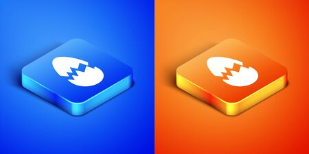 Isometric Broken egg icon isolated on blue and orange background. Happy Easter. Square button. Vector Illustration