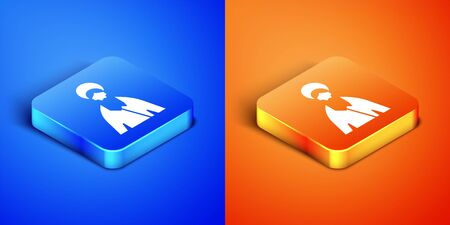 Isometric Jesus Christ icon isolated on blue and orange background. Square button. Vector Illustration
