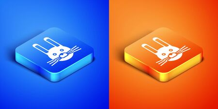 Isometric Easter rabbit icon isolated on blue and orange background. Easter Bunny. Square button. Vector Illustration