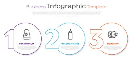 Set line Pepper, Sauce bottle and Salami sausage. Business infographic template. Vector