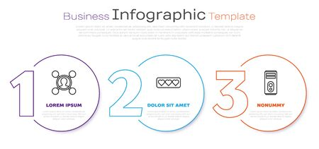 Set line Share, Like and heart and Computer. Business infographic template. Vector