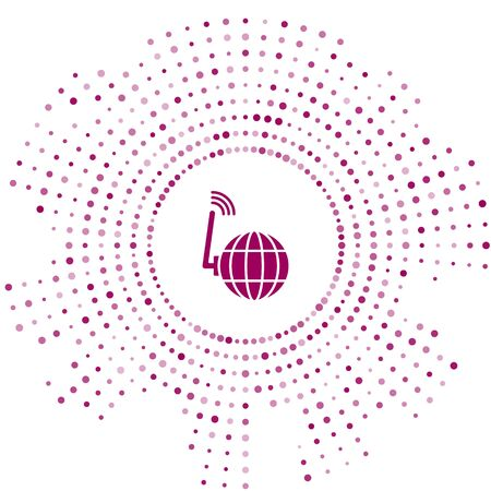 Purple Global technology or social network icon isolated on white background. Abstract circle random dots. Vector Illustration