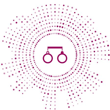 Purple Handcuffs icon isolated on white background. Abstract circle random dots. Vector Illustration Vecteurs