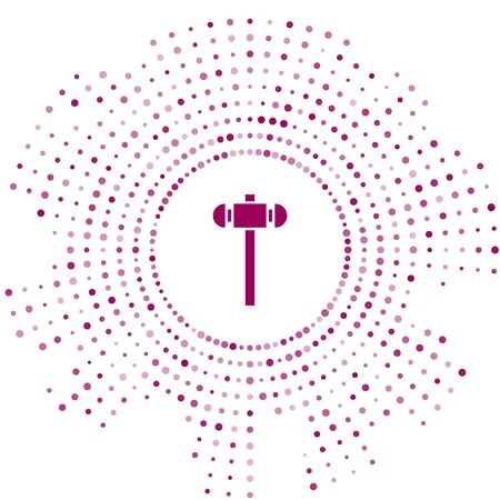 Purple Sledgehammer icon isolated on white background. Abstract circle random dots. Vector Illustration