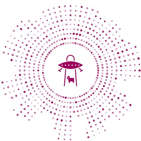 Purple UFO abducts cow icon isolated on white background. Flying saucer. Alien space ship. Futuristic unknown flying object. Abstract circle random dots. Vector Illustration