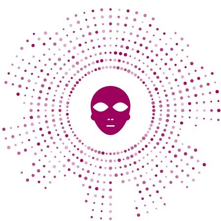 Purple Alien icon isolated on white background. Extraterrestrial alien face or head symbol. Abstract circle random dots. Vector Illustration  イラスト・ベクター素材