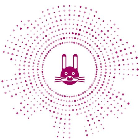 Purple Easter rabbit icon isolated on white background. Easter Bunny. Abstract circle random dots. Vector Illustration