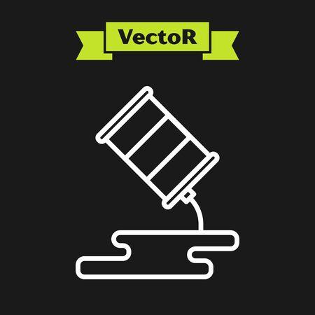 White line Barrel oil leak icon isolated on black background. Vector Illustration