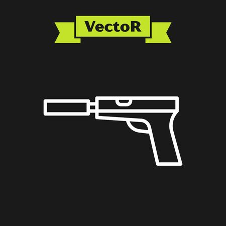 White line Pistol or gun with silencer icon isolated on black background. Vector Illustration