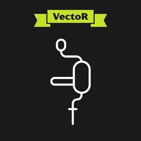 White line Hand drill icon isolated on black background. Vector Illustration