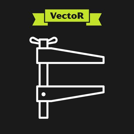 White line Clamp tool icon isolated on black background. Locksmith tool. Vector Illustration
