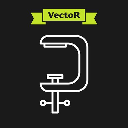 White line Clamp and screw tool icon isolated on black background. Locksmith tool. Vector Illustration Ilustração