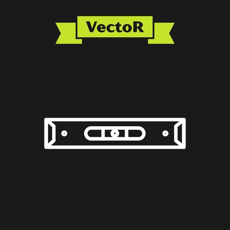 White line Construction bubble level icon isolated on black background. Waterpas, measuring instrument, measuring equipment. Vector Illustration