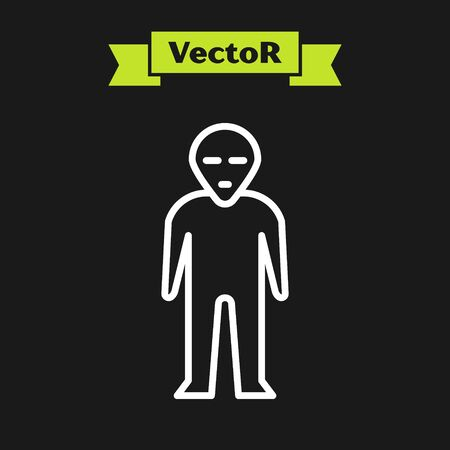 White line Alien icon isolated on black background. Extraterrestrial alien face or head symbol. Vector Illustration  イラスト・ベクター素材