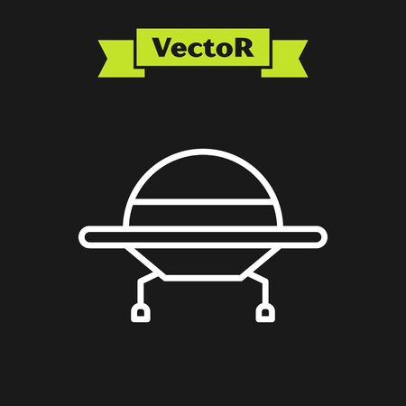 White line UFO flying spaceship icon isolated on black background. Flying saucer. Alien space ship. Futuristic unknown flying object. Vector Illustration  イラスト・ベクター素材