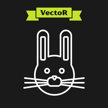 White line Easter rabbit icon isolated on black background. Easter Bunny. Vector Illustration Stock Illustratie